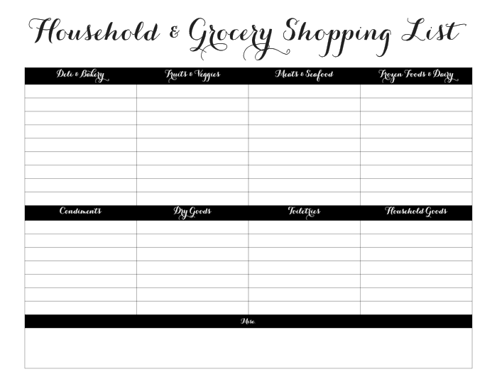 Printable Grocery Shopping List | Family Planner Printables