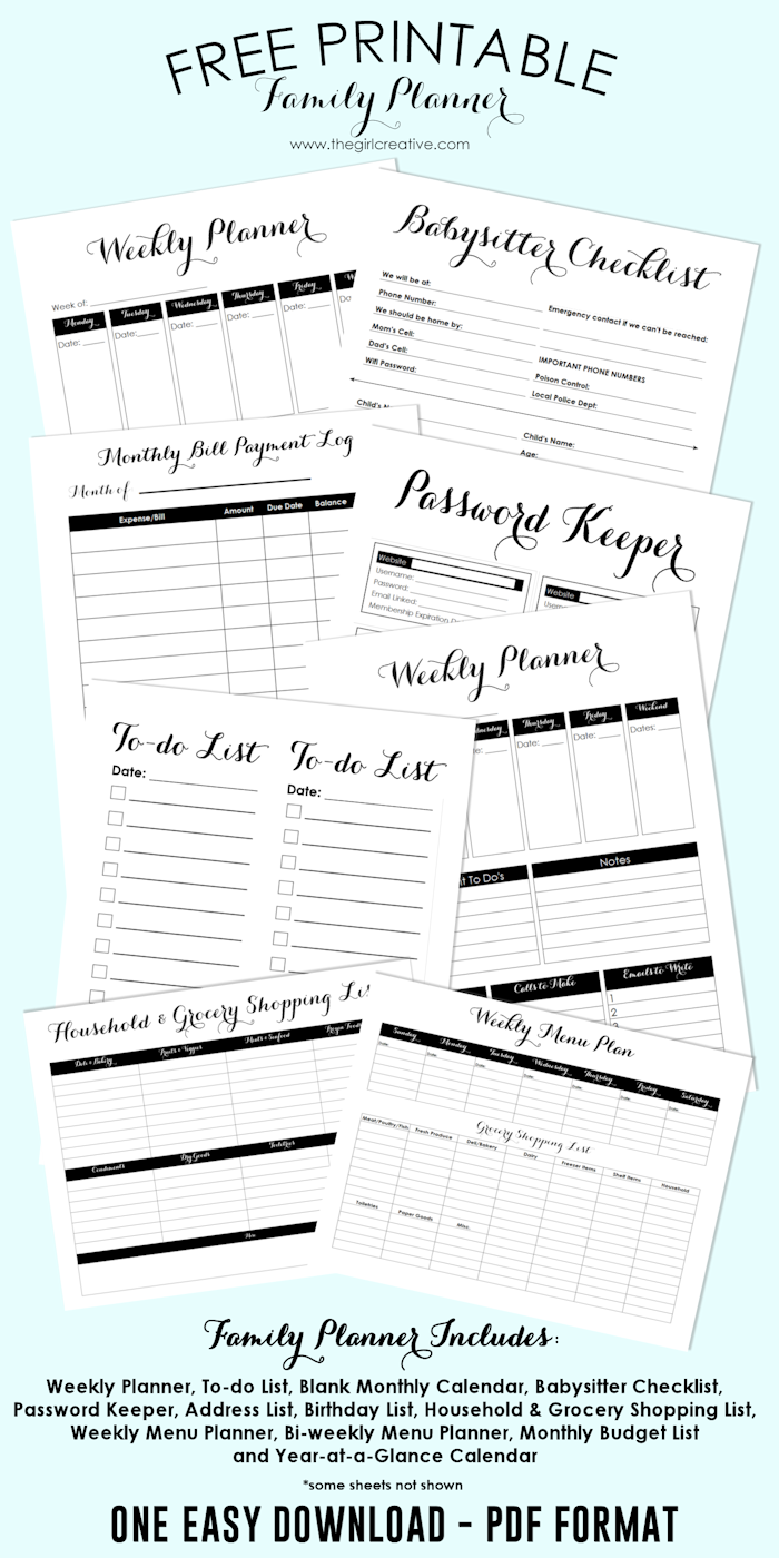 Free Printable Family Planner | Shopping Lists, Password Keeper, Bill Payment Log, Blank Calendar Templates and more!