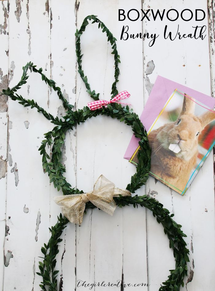 Faux Boxwood Bunny Wreath   Easter Door Decor   Easter Wreaths   Easy Crafts