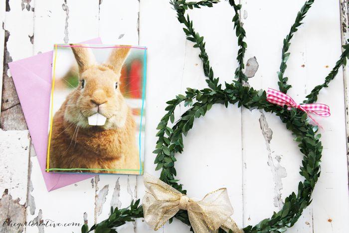 Faux Boxwood Bunny Wreath