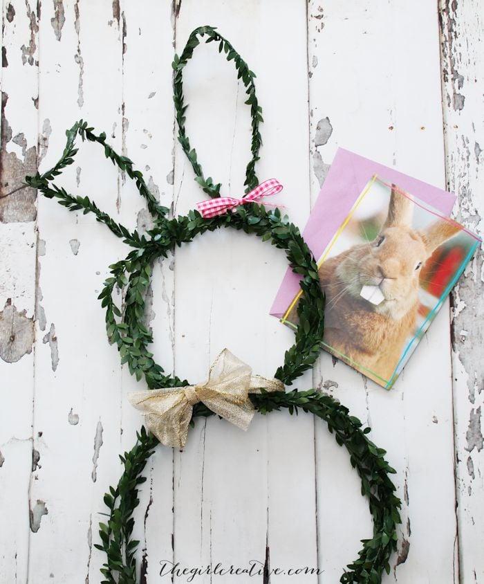 DIY Bunny Wreath   Faux Boxwood Wreath