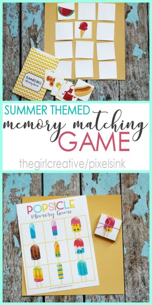 Printable Summer Themed Memory Matching Game - Summer Activities | Boredom Busters | Preschool Activities | Homeschooling Aids