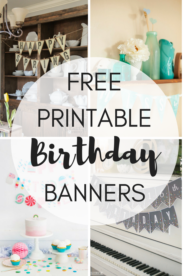 photograph regarding Happy Birthday Printable Banner referred to as No cost Printable Birthday Banners - The Woman Artistic