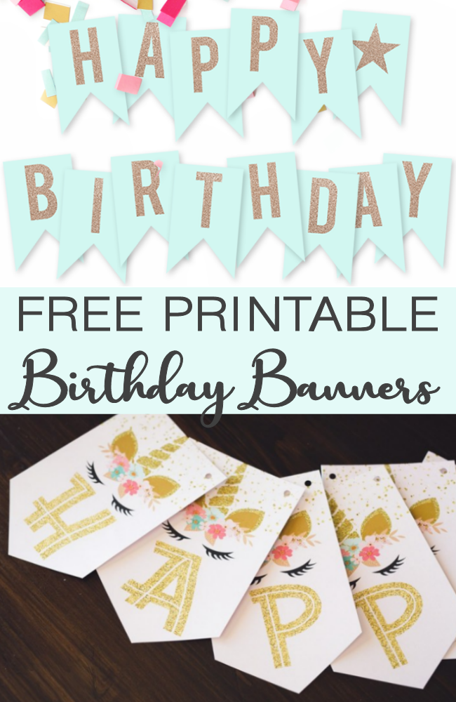graphic relating to Free Printable Decor named No cost Printable Birthday Banners - The Lady Innovative