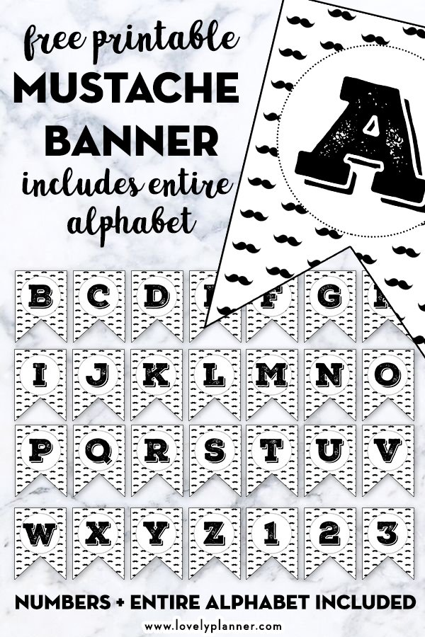 Free Printable Mustache Banner