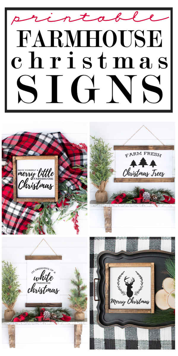 A collection of signs showcasing 4 free farmhouse Christmas designs to print and use as gifts or holiday decor for your home.