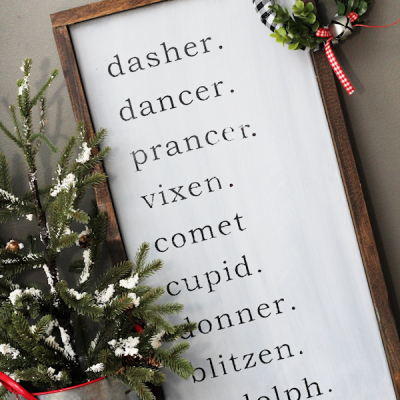 DIY Farmhouse Reindeer Names Sign