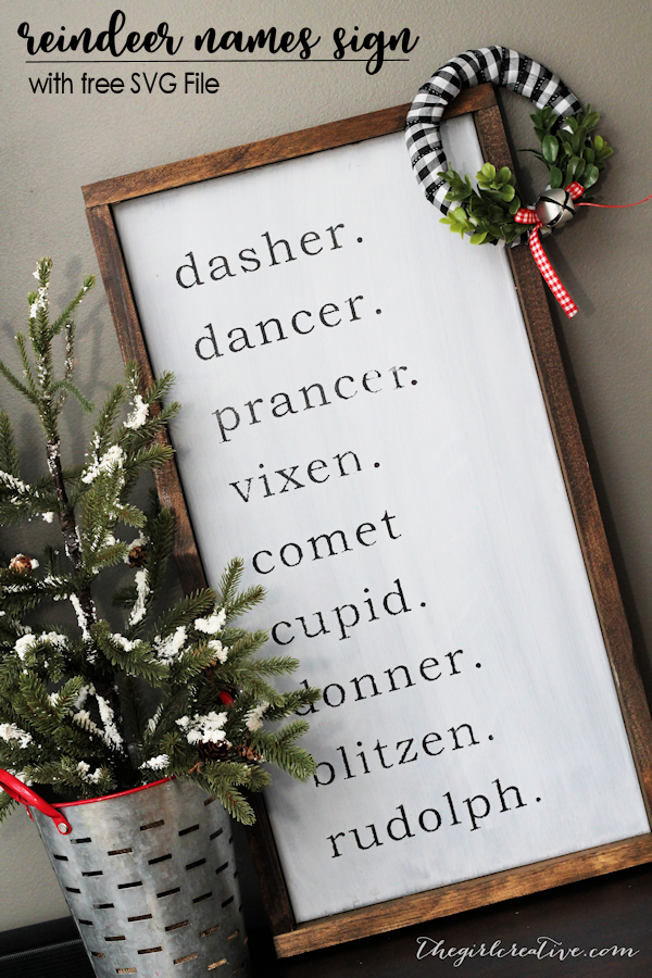 DIY Farmhouse Reindeer Names Sign | Reindeer Names SVG File | Farmhouse Christmas Decorations
