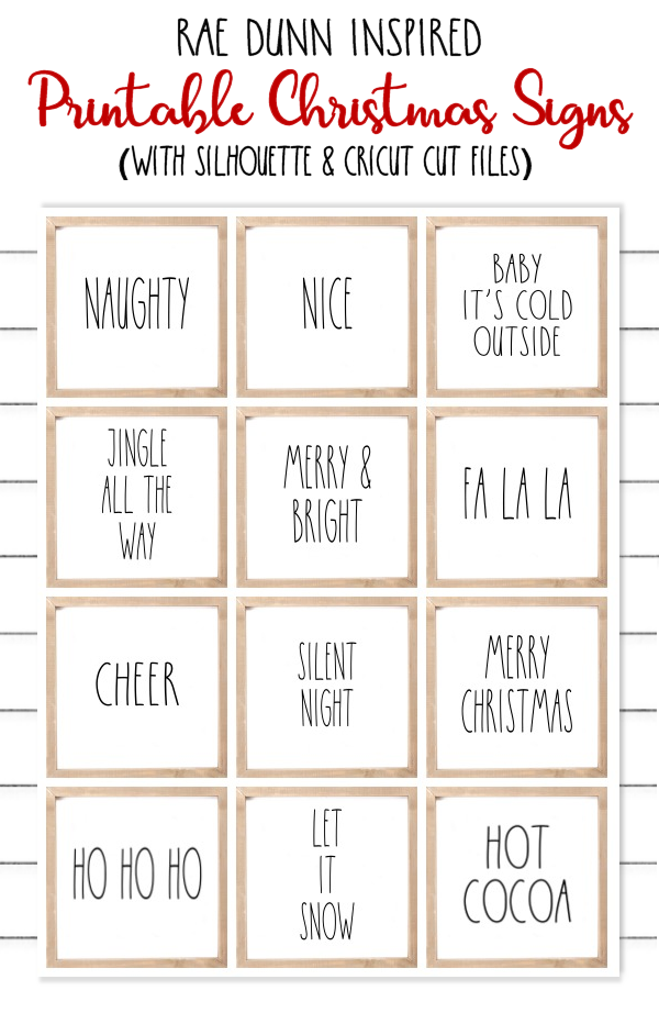 Free Printable Rae Dunn Inspired Christmas Signs and FREE Cut Files for Silhouette and Cricut