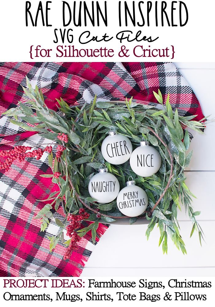 FREE Rae Dunn Inspired Christmas Printables and SVG Cut Files for Silhouette and Cricut