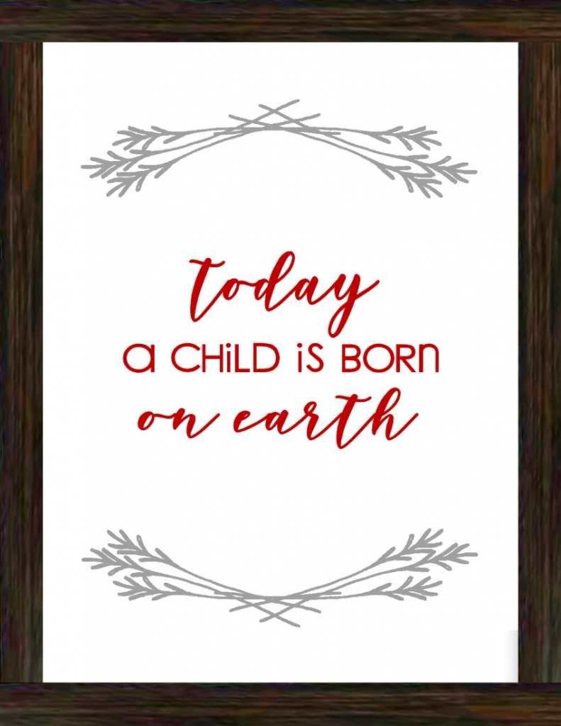 Today A Child is Born on Earth Free Christmas Printable