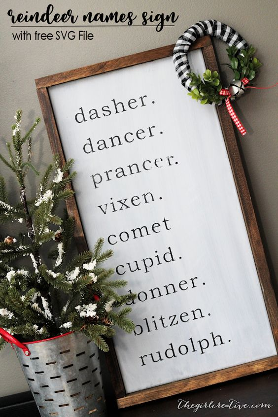 Reindeer Names Sign