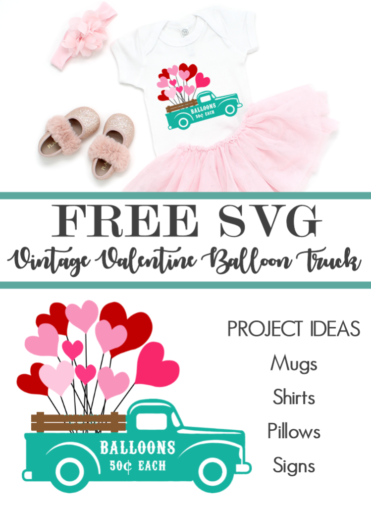 Vintage Valentine Truck with Balloons Cut Files | Valentine's Day Clipart