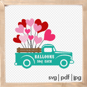 Vintage Truck SVG for Valentine's Day