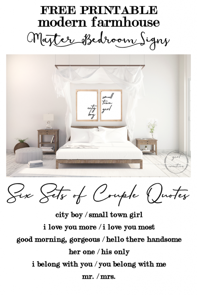 Free Printable Modern Farmhouse Signs for the Master Bedroom