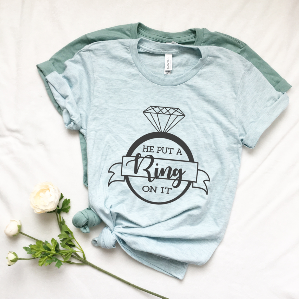 DIY He Put a Ring on It Wedding T-shirt for the Bride
