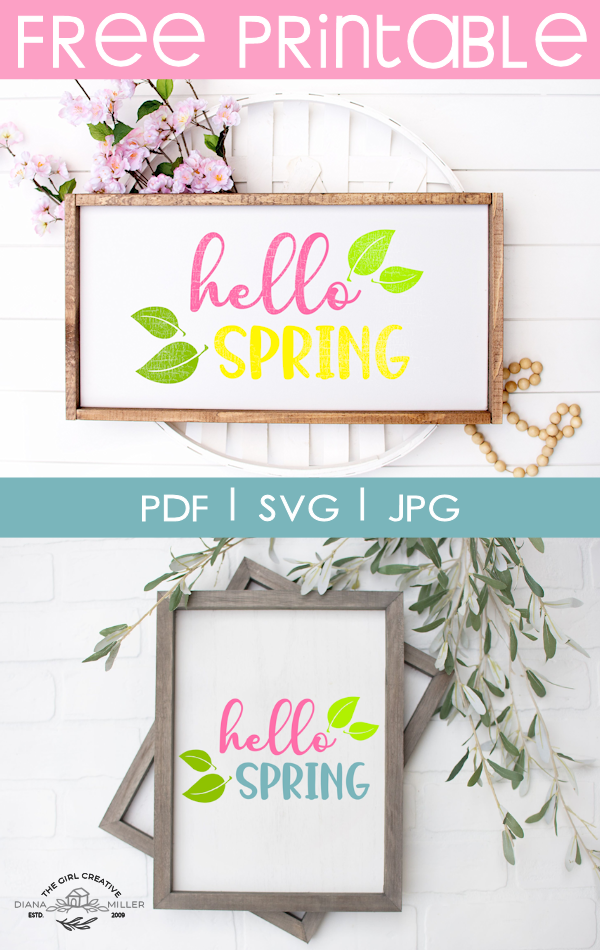 Free Hello Spring Printable Sign for your Home | Printable Home Decor | DIY Spring Signs