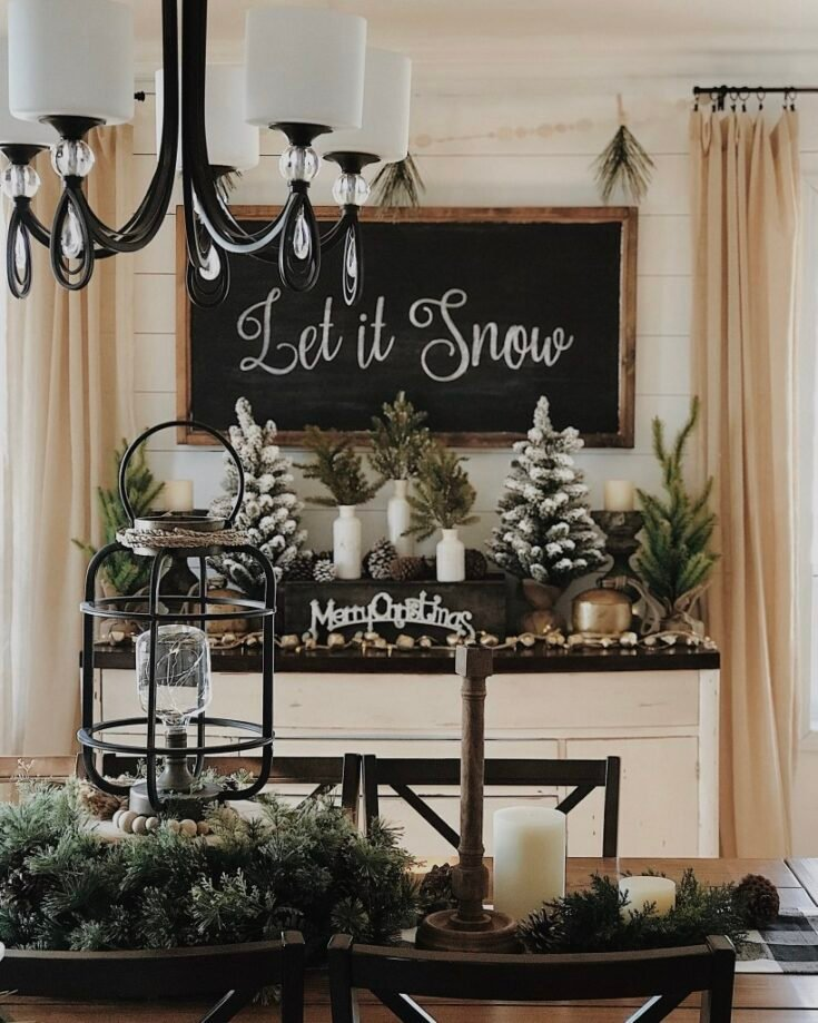 Chalkboard Sign and Frosted Greens