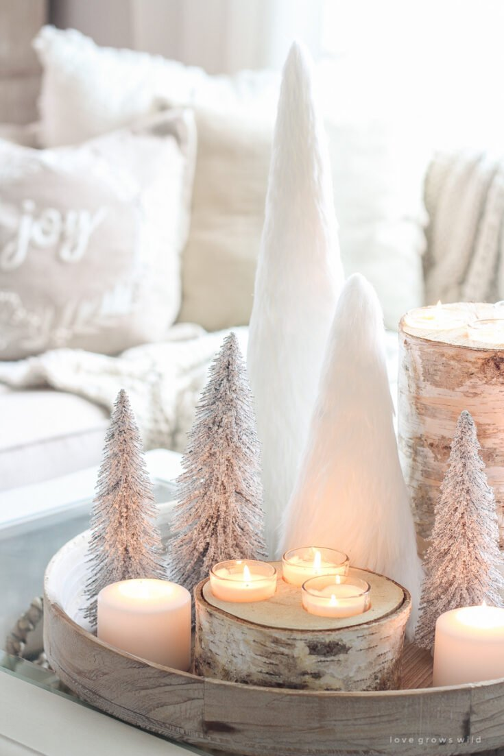 White Fur Christmas Trees and Birch Candles
