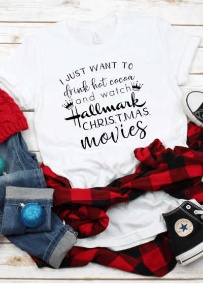 Make your own Hallmark Christmas Movies Watching Tee with this FREE Commercial Use SVG for Silhouette and Cricut