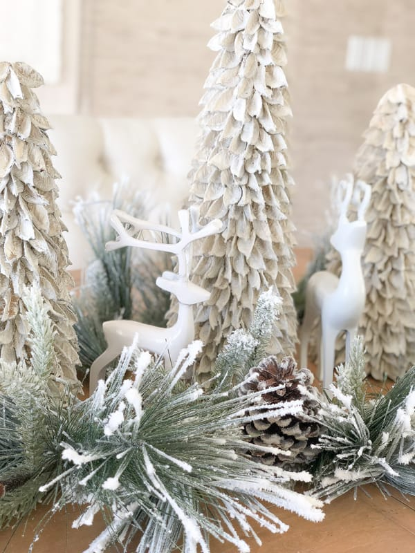 Rustic Tabletop Trees and Reindeer Decor