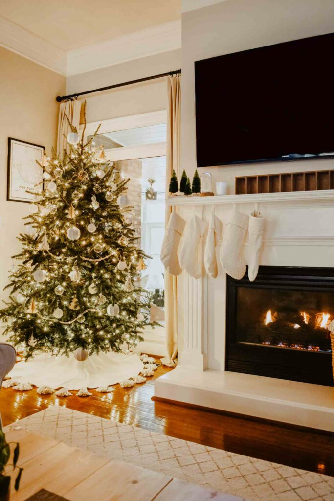 Christmas Tree with DIY Tassel Tree Skirt in Neutral Colors