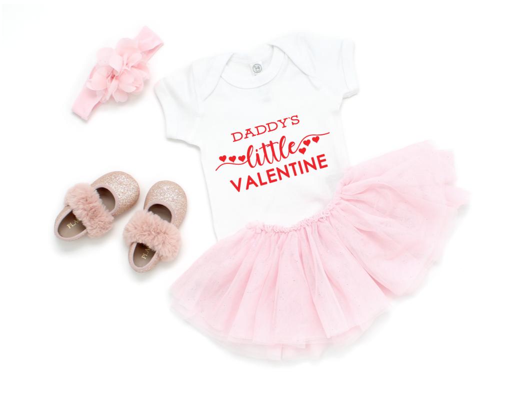 Daddy's Little Valentine SVG Design on a baby onesie