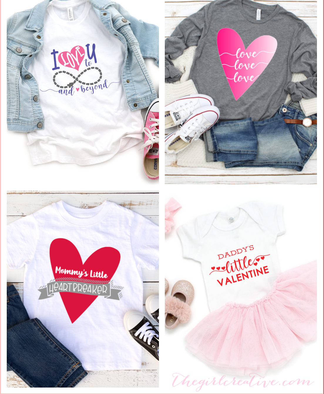 A collection of Valentine's Day SVG designs used on t-shirts that you can DIY yourself using your Cricut or Silhouette