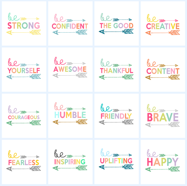 Kids Prints - Be Inspiring Be Happy Be Brave | Printable Wall Art for Kids