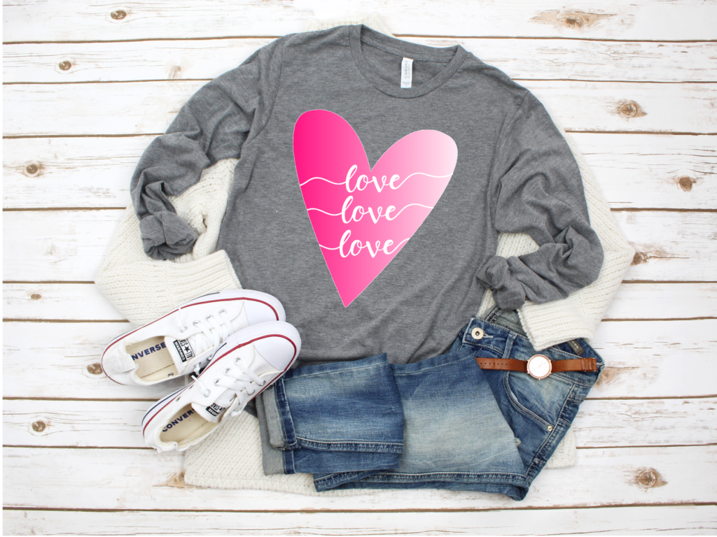Love Love Love SVG T-Shirt Design for Valentine's Day