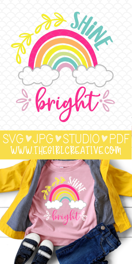 Shine Bright SVG Cut File for Silhouette and Cricut | Rainbow T-shirt Design for Kids