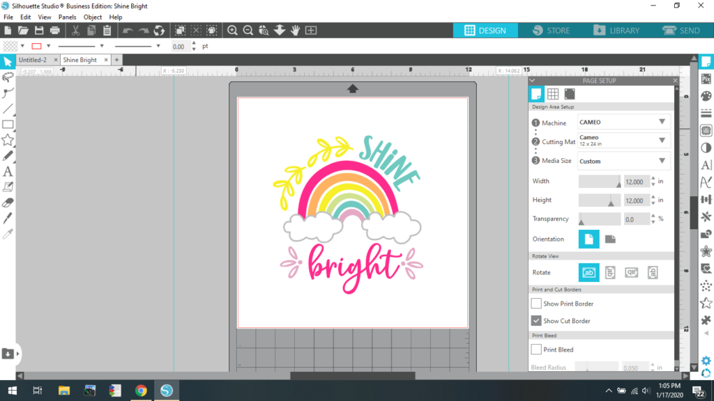 Shine Bright SVG in Silhoutte Studio Software
