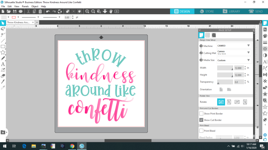 Throw Kindness Around Like Confetti for Silhouette Studio
