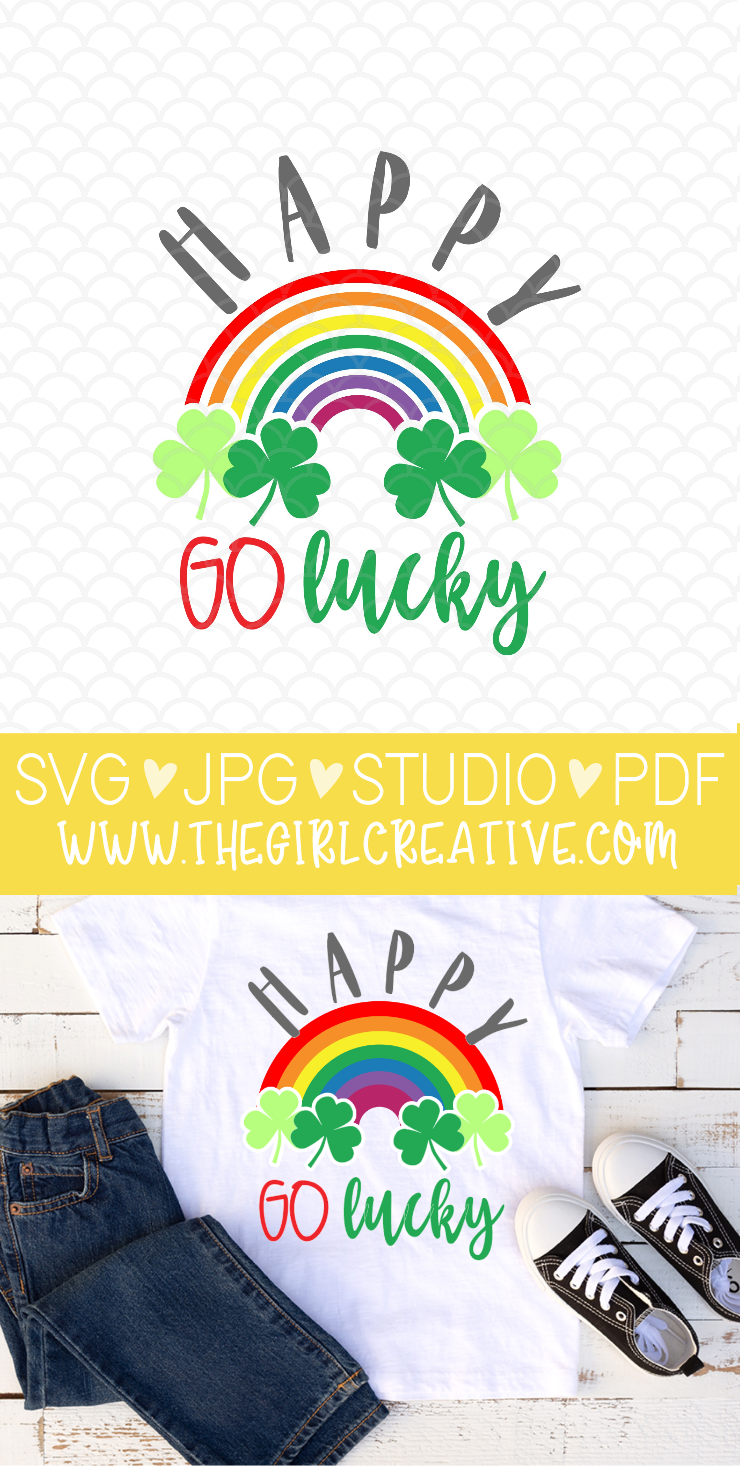 St. Patrick's Day Happy Go Lucky SVG Design for Cricut and Silhouette #luckysvg #stpattysdaysvg #svgforcricut #freestpatricksdaysvg