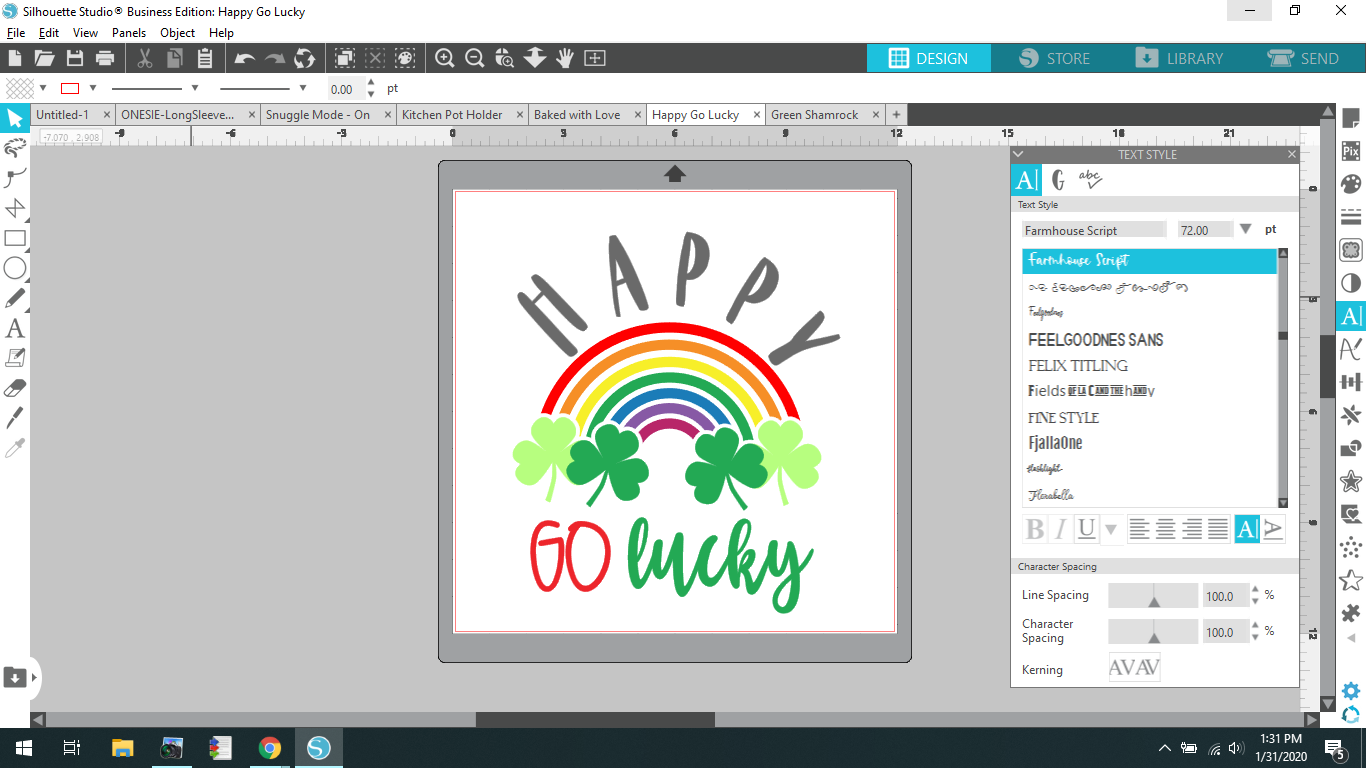 Screenshot of Happy Go Lucky SVG opened in Silhouette Studio Software