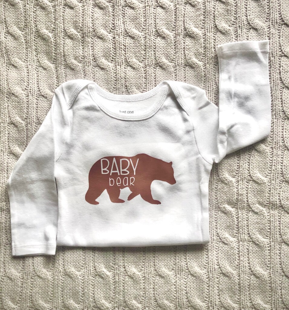 Custom Baby Bear Onesie made with FREE Baby Bear SVG