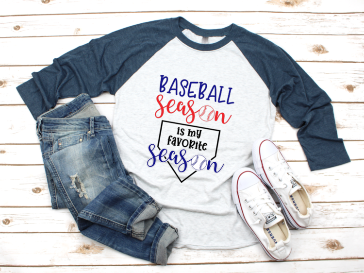 Baseball Season is My Favorite Season FREE SVG to DIY your own t-shirt using your Silhouette or Cricut.