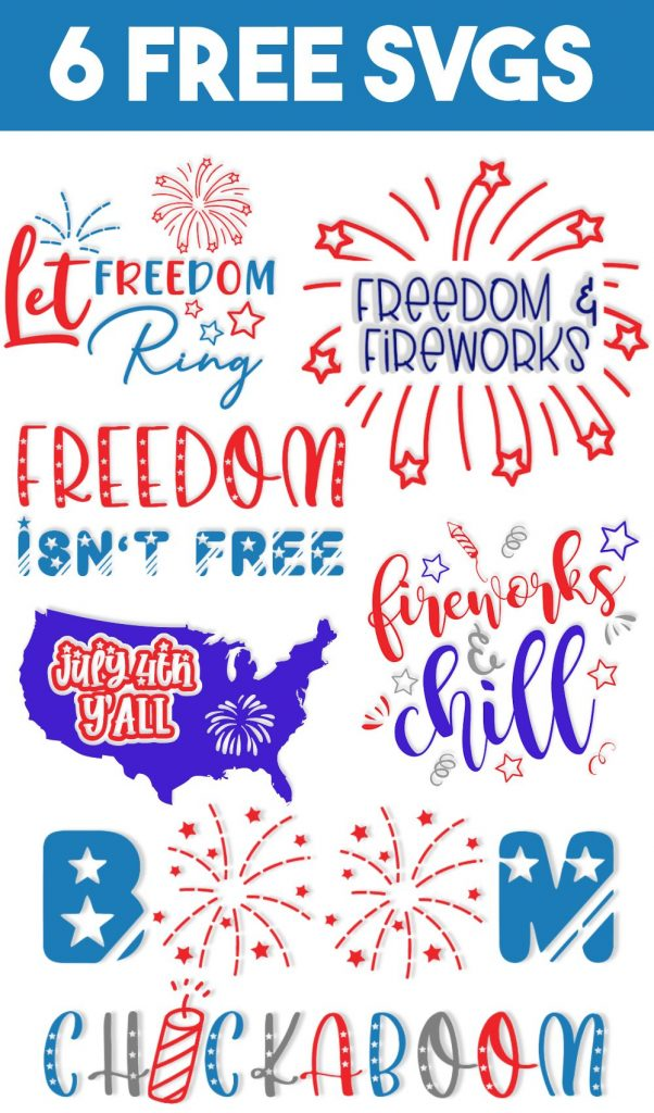 6 July 4th designs in red, white and blue