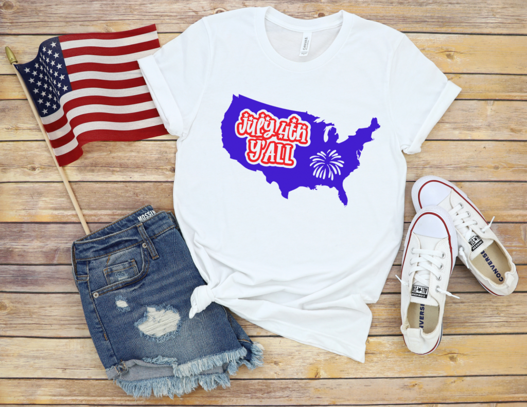 Tshirt with July 4th Y'all