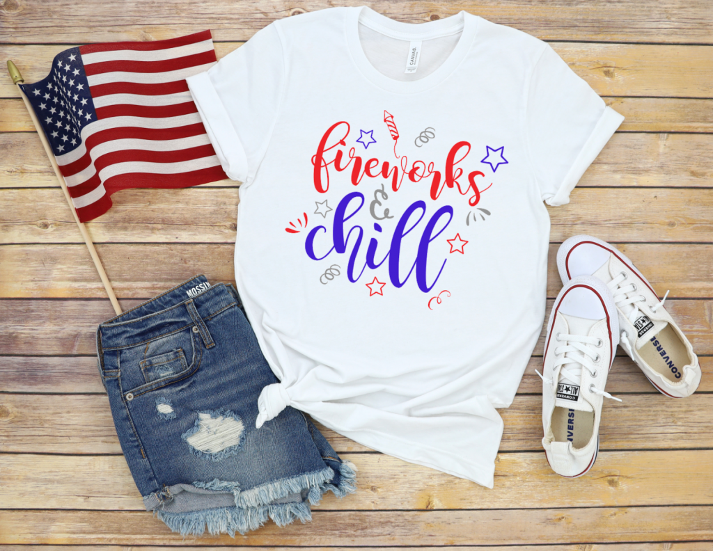 Shirt that says Fireworks and Chill