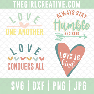 4 Graphic designs in pastel colors that promote love and kindness