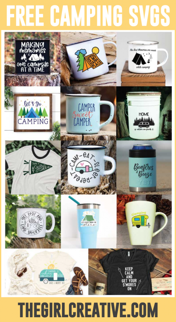 collage of photos with camping designs