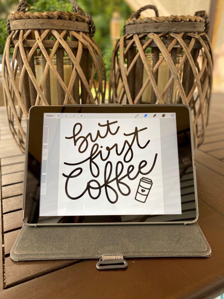 But first coffee hand written design on an ipad screen.