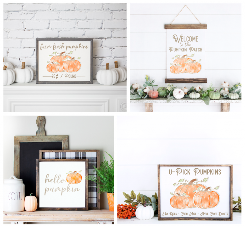 4 signs with pumpkin sayings