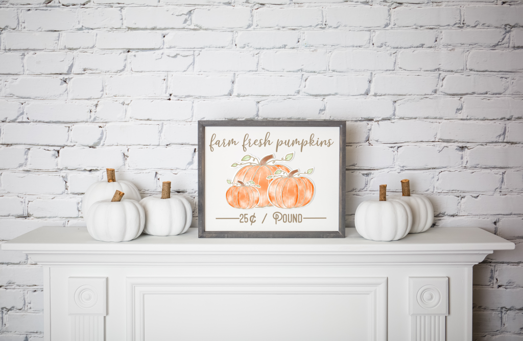 Mantle with white pumpkins and framed farm fresh pumpkins sign