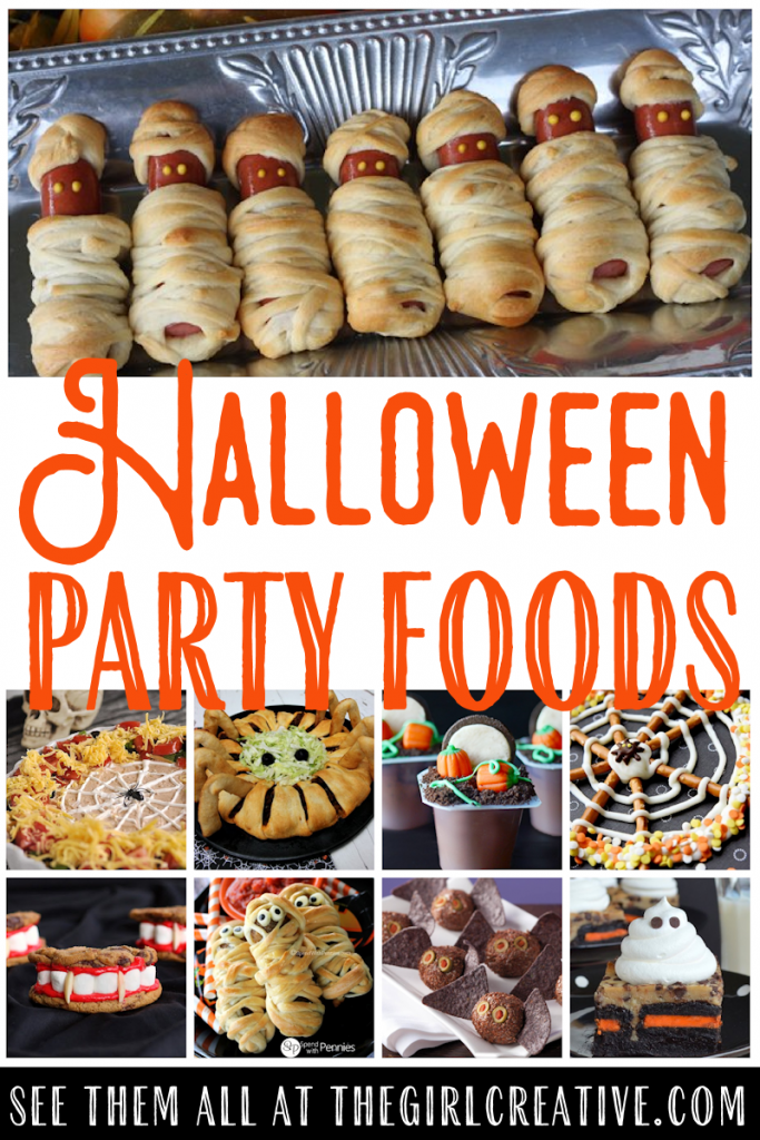 Collage photo of Halloween party foods