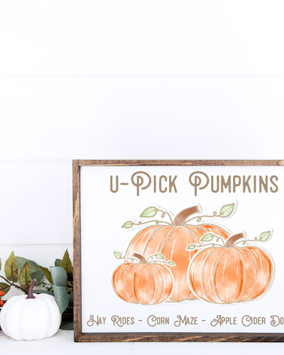 Wood Sign with U-Pick Pumpkins TExt