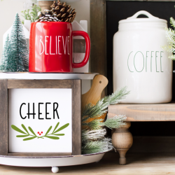 Tiered Tray with Cheer Wood Sign