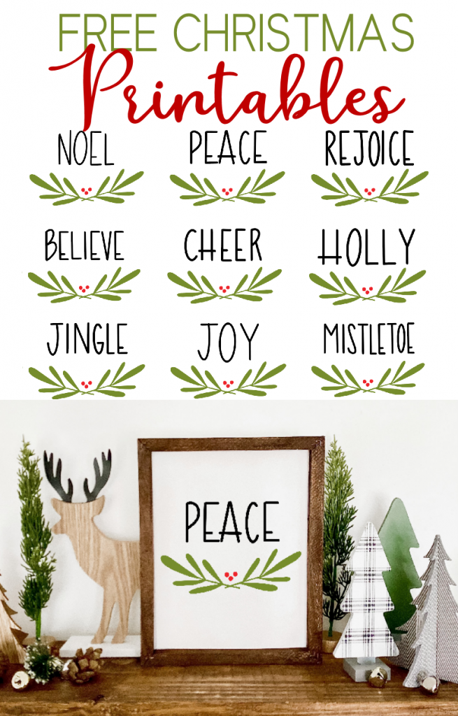 Christmas Printables with Peace Sign