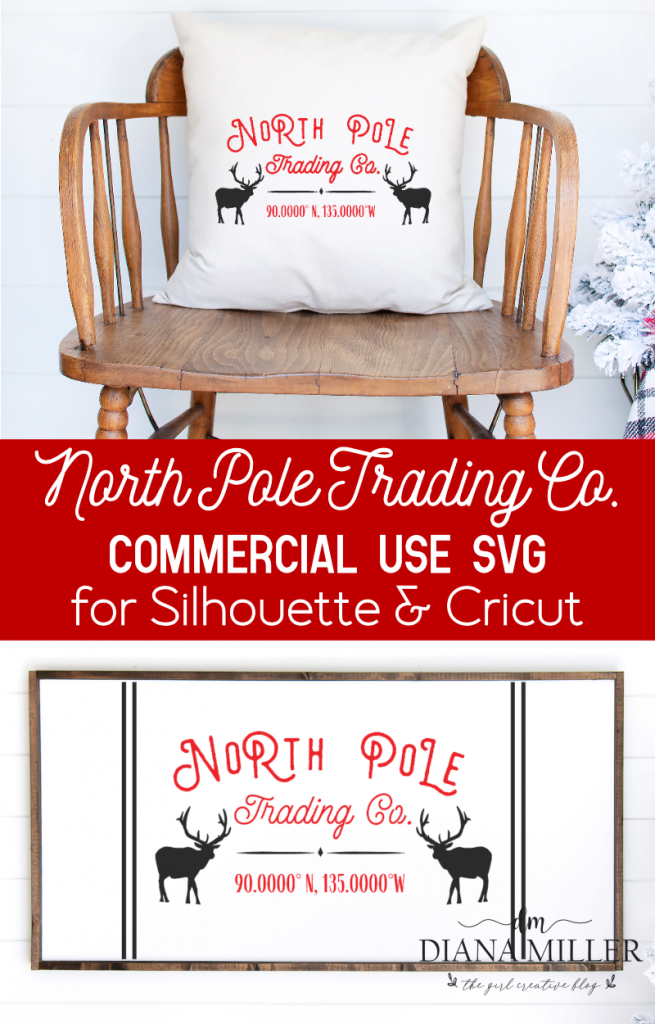 North Pole Trading Company Sign and Pillow